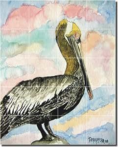 "Pelican II by Derek McCrea - Bird Art Ceramic Tile Mural 21.25"" x 17"" Kitchen Shower Backsplash"
