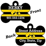 Iowa Hawkeyes Double Sided Pet Id Dog Tag Personalized With 4 Lines of Text