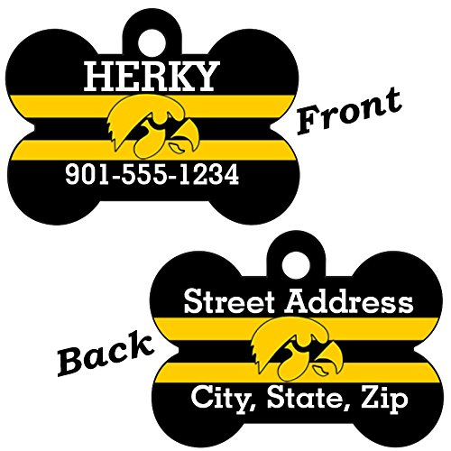 Eye Dog Tag - Iowa Hawkeyes Double Sided Pet Id Dog Tag Personalized With 4 Lines of Text