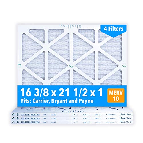 Glasfloss 16-3/8 x 21-1/2 x 1 MERV 10 Air Filters, Pleated, Made in USA (Case of 4) Fits Listed Models of Carrier, Bryant & Payne, Removes Dust, Pollen & Many Other Allergens. ()