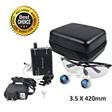 Vinmax (FBA Available) Dental Surgical Medical Binocular Loupes Optical Glass Loupe 3.5x 420mm + Head Light Lamp +Carry bag (Black)