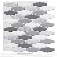 Wallmazter 3D Self Adhesive Vinyl Wall Tile Peel and Stick Kitchen Bathroom Backsplash Brick Design 12''x12'' (009 pack of 2)