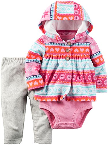 Price comparison product image Carter's Baby Girls' Cardigan Sets, Pink Tribal Hearts, 3 Months