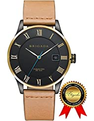 BRIGADA Swiss Watches for Men, Nice Fashion Cool Black/Rose Gold Quartz Mens Watch, Great Gift for Families,...