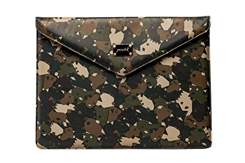 13'' Camouflage Leather MacBook Cover for 13'' Air, Retina HANDMADE / POETIK LIMITED EDITION Army Laptop Sleeve Case (Camo Netbook Sleeve Green)