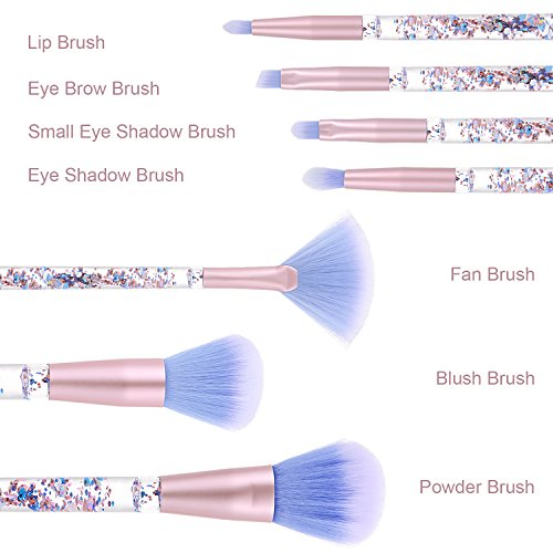 Ameauty Makeup Brush Set, Premium Face Powder Blush Eyeshadow Brush Eyebrow Brush Lip Makeup Brush with Quicksand Handle - Makeup Brush Kit for Concealer Blending Powder Liquid Cream Cosmetic (7PCS)