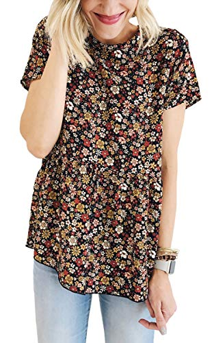 Hibluco Women's Short Sleeve Round Neck Floral Print Swing Tunic Top Blouse Black