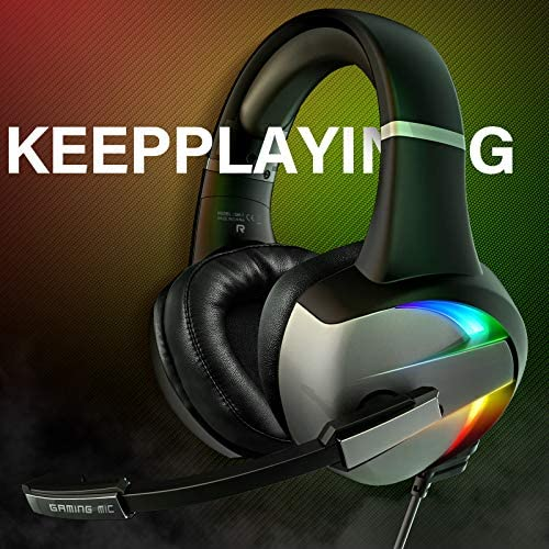 Gaming Headset for PS4 Xbox One with 7.1 Surround Sound, PC Pro Gaming Headphones with Noise Canceling Mic, Breathing RGB Light, Super Comfy Earmuffs for PS5, PS4, Xbox one, PC,Mac,Laptop