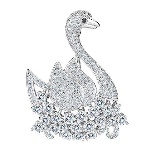 FANZE Women's Cubic Zirconia Noble Elegant White Swan Animal Bird Brooch Pin Clear Color Silver-Tone (Elegant Swan)