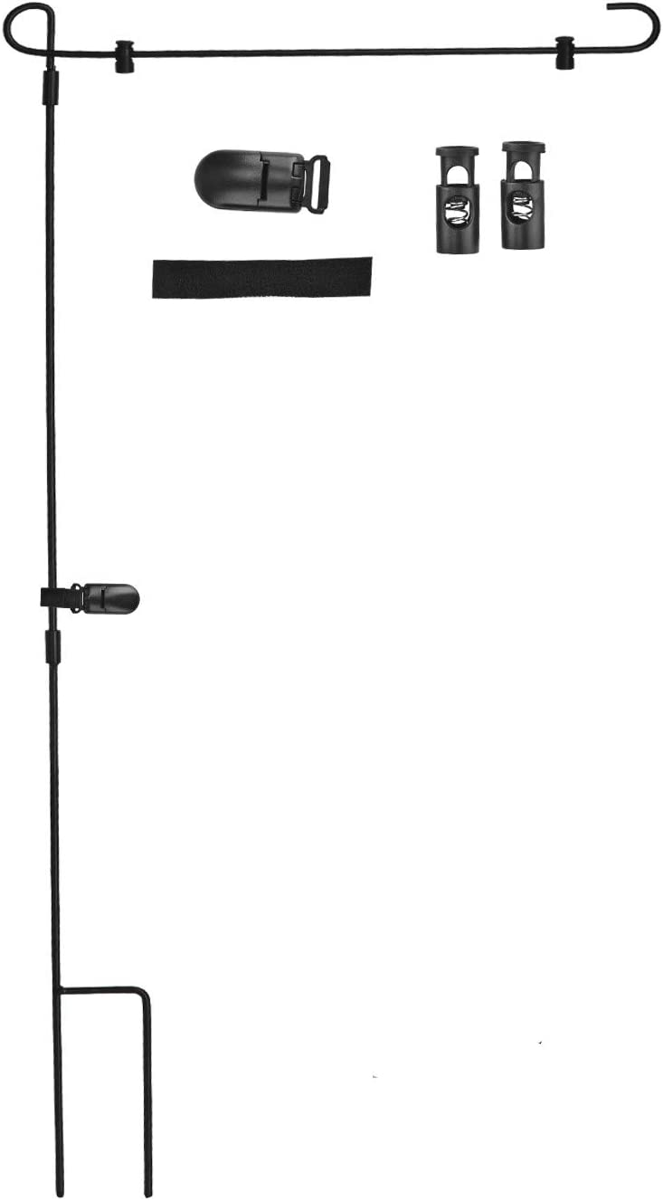 LOMETY Garden Flag Stand,Heavy Duty Black Metal Flag Holder for Outdoor Garden Lawn with 2 Spring Stoppers and 1 Tiger Clip Without Flag