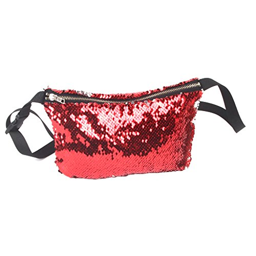 MagiDeal 2 Pezzi Donne Creative Sequined Cross Body Borsa Tracolla Fanny Pack