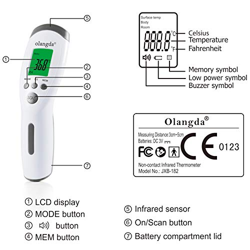 Thermometer for Adults, Olangda Forehead Thermometer, Non-Contact Infrared Thermometer, Digital Thermometer with Instant Accurate Readings