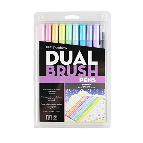 (Tombow 56187 Dual Brush Pen Art Markers, Pastel, 10-Pack. Blendable, Brush and Fine Tip Markers)