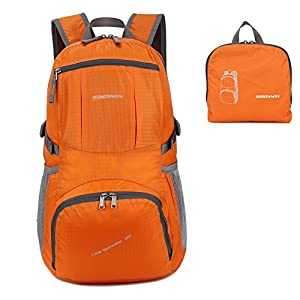ORICSSON Men and Women Foldable Outdoor Tear and Water Resistant Backpack Daypack,Orange 35L