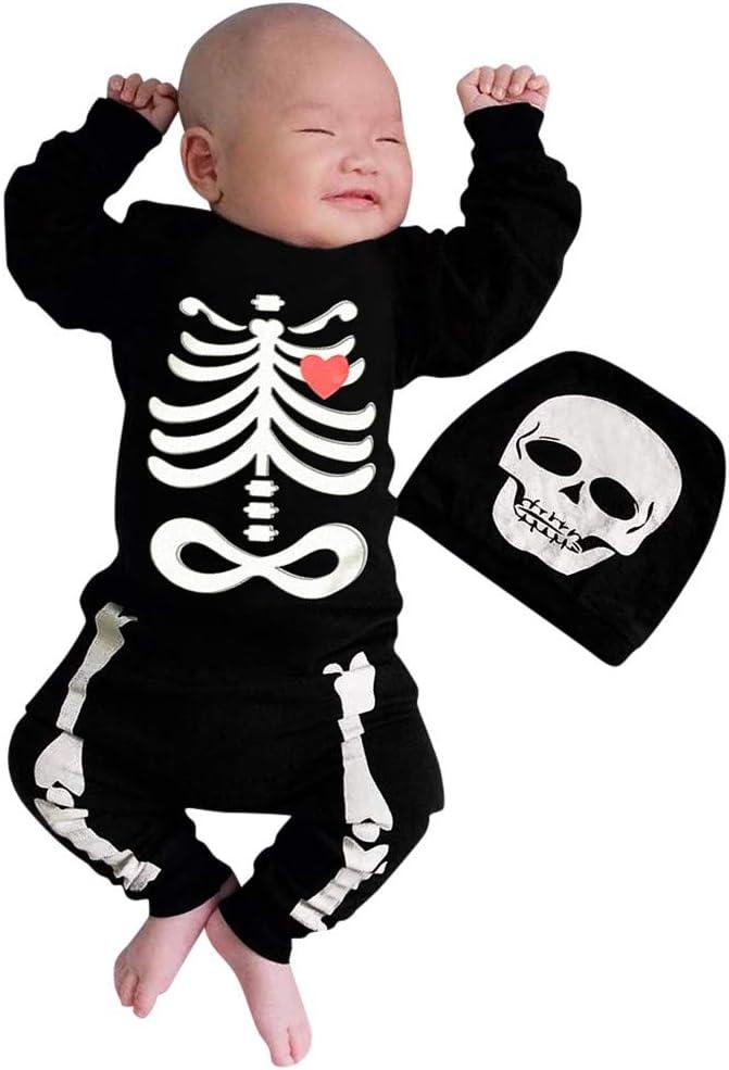 Newborn Baby Infant Boys Girls Halloween Skull Skeleton Costume Rompern Jumpsuit Romper Cosplay Costume Outfits Set