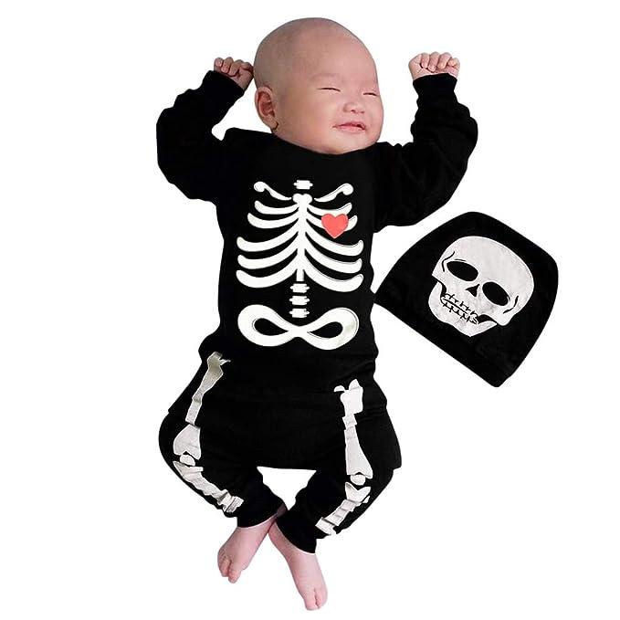 Brillanto Mono Bebe Niño Unisex Halloween Disfraz Esqueleto ...
