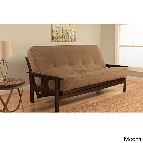 Somette Beli Mont Espresso Hardwood and Polyester Futon Set with Marmont Mattress Marmont Mocha