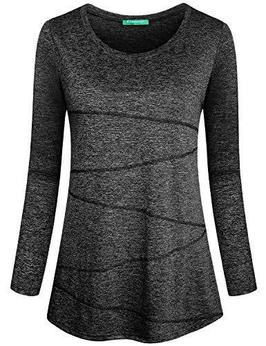 Kimmery Black Workout Shirt, Junior Tops for Exercise Crew Neck Long Sleeve Cute Loose Fit Tee Sports Moisture Wicking Quick Dry Tunic Black X Large