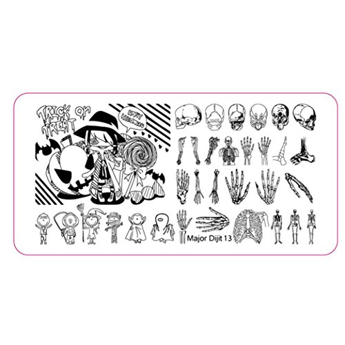 HP95(TM) Halloween DIY Nail Art Image Stamp Stamping Plates Manicure Template Nail sticker (C) ()