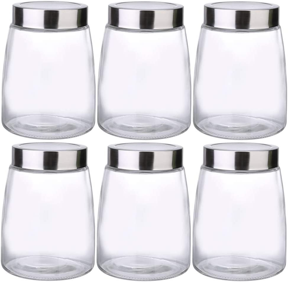 Daitouge Glass Canisters, Glass Jars with Lids - Wide Mouth Glass Storage Jars, 47 oz Recommended for Dry food Storage, Pack of 6