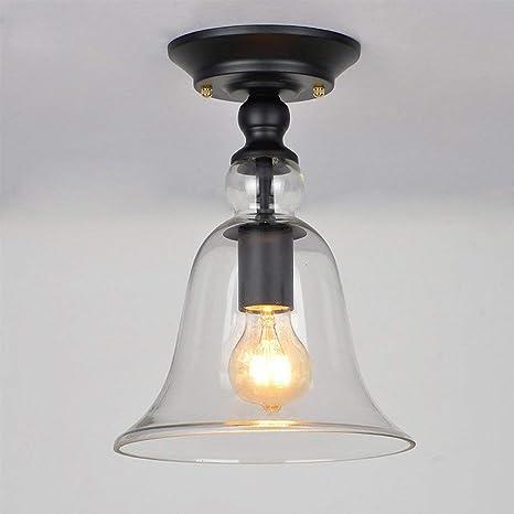 Diseño Vintage Luz de Techo Retro Campana de Cristal Redonda ...