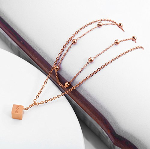 Beydodo Rose Gold Ankle Bracelet 11 Inch Rose Gold Anklet Stainless Steel Cube LOVE Double Chain Anklet by Beydodo (Image #4)