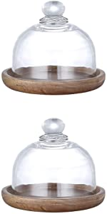 YARNOW 2Sets Mini Clear Glass Dome Display Cases with Wooden Bass Glass Cloche Bell Jar Round Cake Dome Cover Food Plate Lid Dessert Display Stand Cover