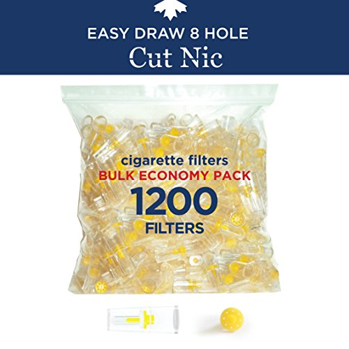Cut-Nic 8 HOLE EASY DRAW Disposable Cigarette Filters - Bulk Economy Pack (1200 Per Pack) (Filters Trap Tar)
