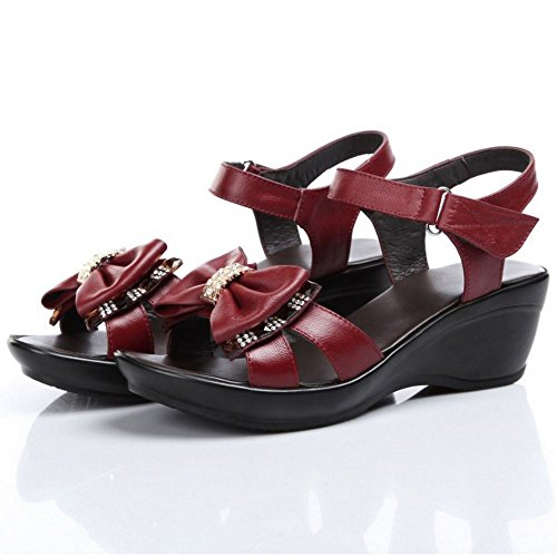 Open Toe Slingback 964 Wedges Sandals Women Summer Velcro TAOFFEN Comfortable Red Heel RxqwaxIt