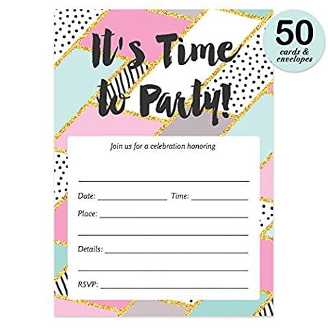 Pastel Geometric Party Invitations with Envelopes ( Pack of 50 ) Bachelorette Party Invitations Lingerie Shower Bridal Shower Invitations 50 ct Excellent Value Birthday Invitations - Lingerie Party Invitation