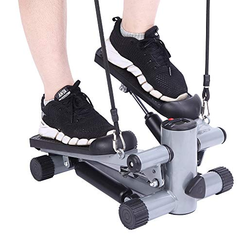 Wannoc Exercise Aerobic Mini Stepper,Swing Stepper with Ropes for Legs Arms Workout Home Fitness Machine
