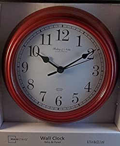 Amazon Com Sterling Amp Noble 8 75 Quot Wall Clock Red Home