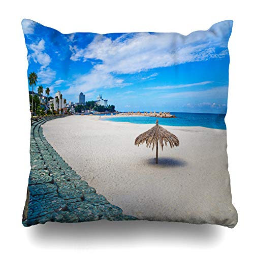 Kutita Decorative Pillow Covers 18 x 18 inch Throw Pillow Covers, Shirahama Beach in Wakayama Prefecture Kansai Japan Pattern Double-Sided Decorative Home Decor Pillowcase