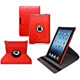 Ionic Rotating Stand Leather Apple iPad 5 iPad Air Case (Red)