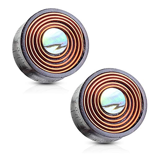 Mother Of Pearl Organic Plugs - Pair of Dynamique Mother of Pearl with Copper Wire Coil Organic Sono Wood Double Flared Saddle Plugs
