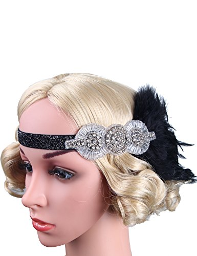 Flapper Girl Black Headpiece Flapper Headband 1920s Accessories Costume (Black)
