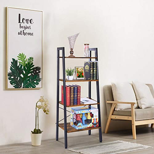 LLJEkieee Bookshelf- Vintage Ladder - 4-Tier Open Shelves Storage Rack Shelf Unit Home Office Cabinet Industrial Standing Racks Study Organizer Wood Look Furniture 56 x 34 x 142cm (Vintage)
