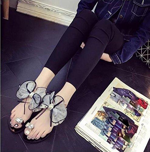 KHSKX-Fashion Slippers _ Korean Fashion Slippers Female Summer New Code Flat Flat With Slip Flower Thirty-six cyVzC8