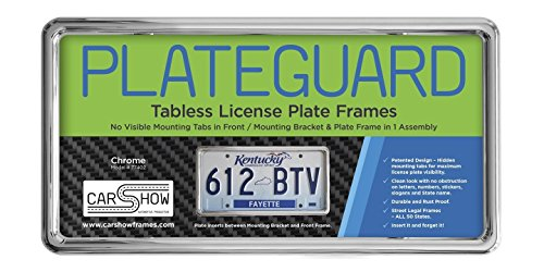 Carshow Automotive Products 77402 Plateguard, Tabless License Plate Frame and Holder/Bracket, Chrome (Auto Detailing License Plate)