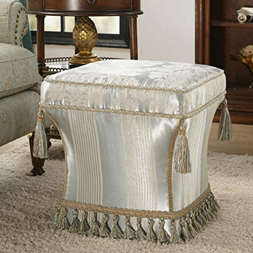 Jennifer Taylor Home Savannah Collection Mid Century Modern Living Room Square Pedestal Fringe and Trim Tassel Ottoman