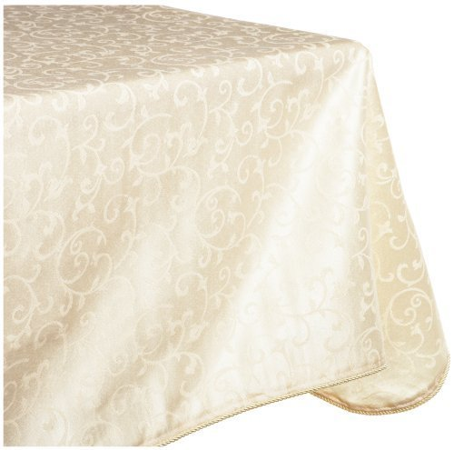 Lenox Opal Innocence 60-by-140-Inch Oblong / Rectangle Tablecloth, Ivory by Lenox