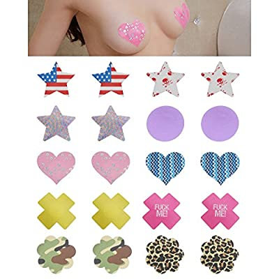 10x Women Sexy Disposable Satin Nipple Cover Adhesive Breast Petals Lingerie US Stars