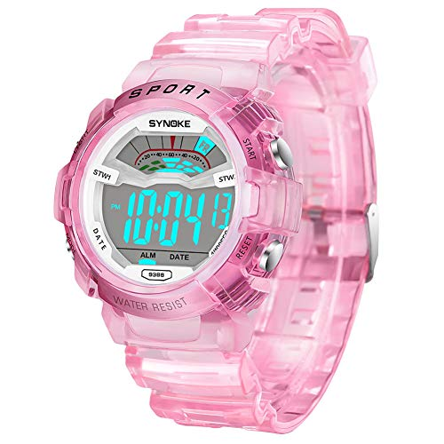 (Kids' Sports Watch, Digital Watch with Light, Fashionable Waterproof Wrist Watch for Boys and Girls (Pink))