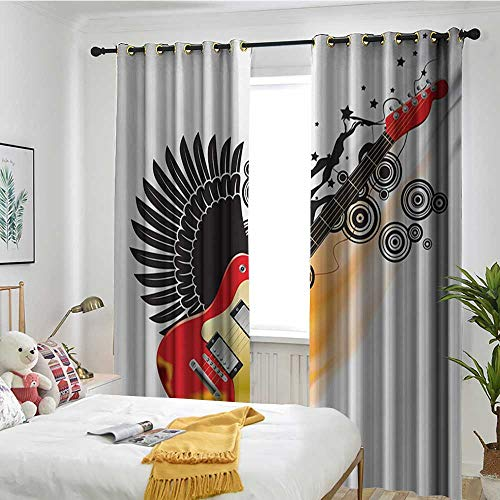 TRTK Window Curtain Fabric Sun Visor in Bedroom Living Room Music,Bass Guitar with Wings in Flame and Spirals Rock and Roll Illustration,Black Orange Scarlet ()