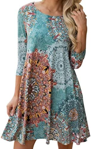 0d792cc7ed926 KESEE Womens Clothing☀ Long Sleeve Vintage Boho Maxi Evening Party Beach Floral  Dress Casual Loose T-Shirt Dress Knee-Length