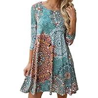 kesee Womens ropa ☀ manga larga clásico Boho Maxi noche fiesta playa vestido de flores Casual Loose playera vestido