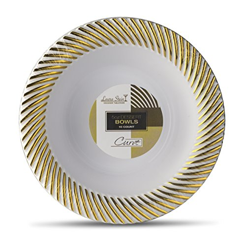 Designer Plastic Bowls - Laura Stein Designer Tableware Premium Heavyweight 5 Ounce White And Gold Rim Plastic Party & Wedding Soup Bowls Curve Series Disposable Dishes Pack of 40 Dessert Bowls