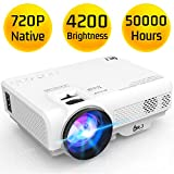 DR. J Professional Latest Upgrade 4200L Portable Video Projector Native 720P Support 1080P, Compatible with TV Stick, HDMI, VGA, USB, TF, AV, Sound Bar, Smartphone for Home Theater & Video Games