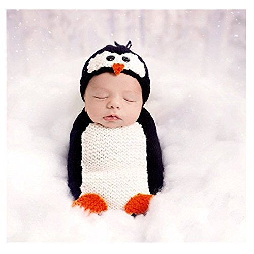 Diy Infant Halloween Costumes (Unisex Newborn Baby Photography Props Cute Penguin Sleeping Bag Halloween Costume)