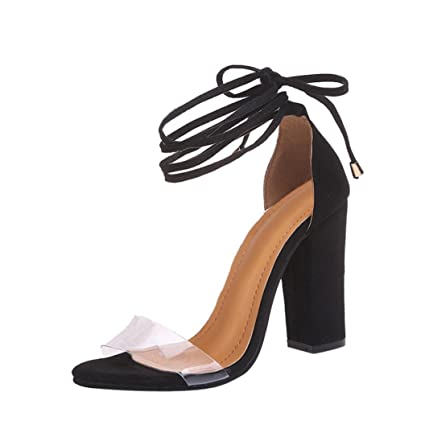 Sandales Beige Bleu A Talons AvecNœud papillon,Xinan Été Femme Chaussures  Transparents Chic Bride Cheville dcbe25381c2